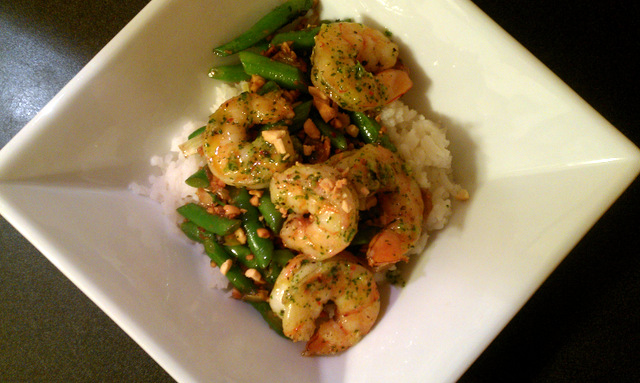 roasted shrimp over coconut rice with leeks, green beans, and peanuts