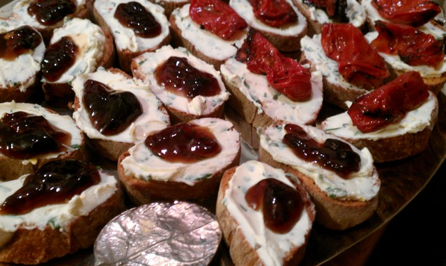 bruschetta w jam and roasted tomatoes