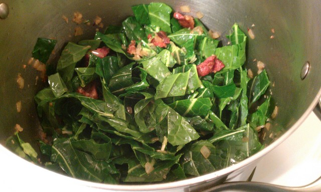 toss greens with bacon