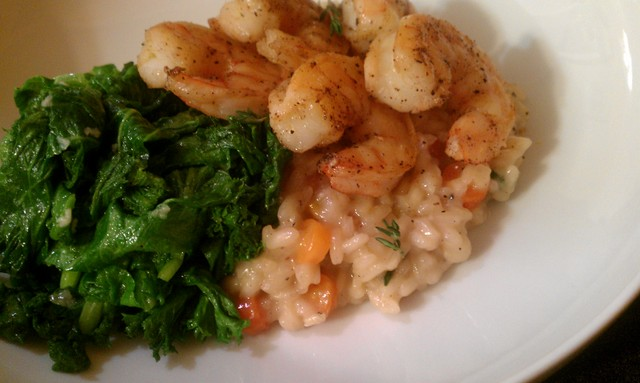 yummy bowl of shrimp and risotto