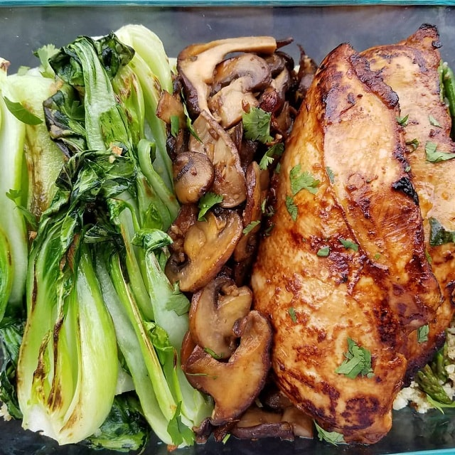 tamari ginger chicken with mushrooms and bok choy