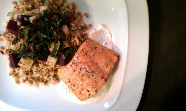 aerial salmon with pilaf and veggies