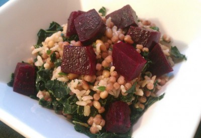 beets on rice n couscous with kale