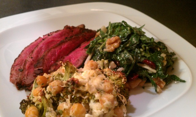 broccoli casserole with chickpeas with steak and kale slaw