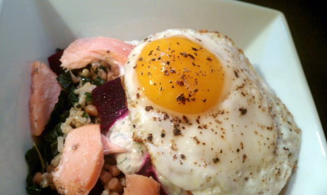 egg topping kale, beets, rice and couscous
