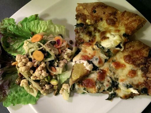 final plate- pizza with peaches and kale and cauliflower salad