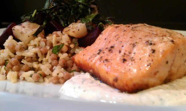 grilled salmon with roasted beets and grilled kohlrabi, horseradish dill sauce