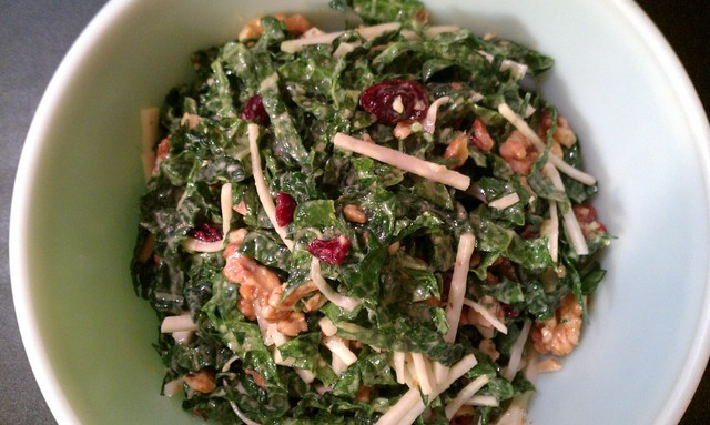 kale slaw mixed and ready to chill