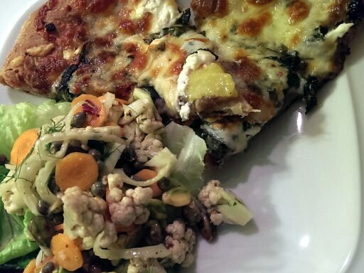 pizza and cauliflower fennel salad