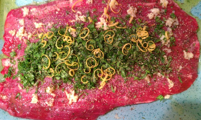 steak with herb and lemon marinade