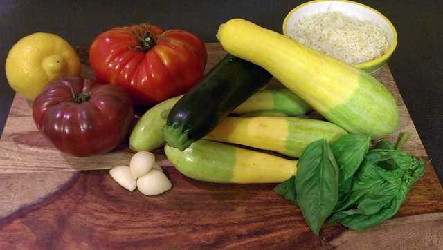 ingredients squash and zucchini pasta