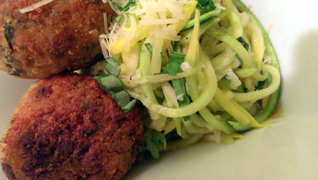 meatballs and zoodles