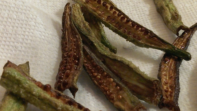 okra drying