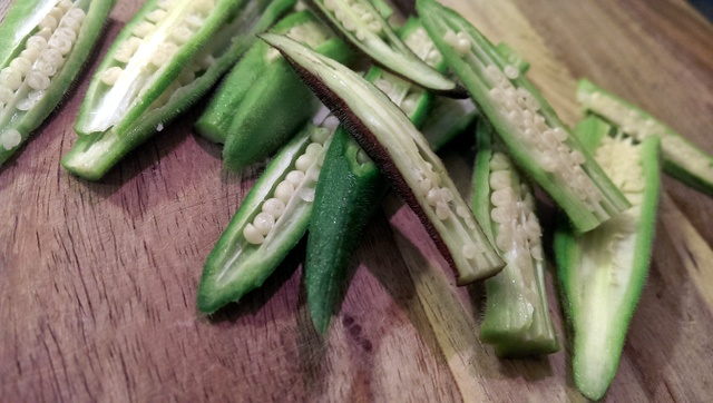 sliced okra longways