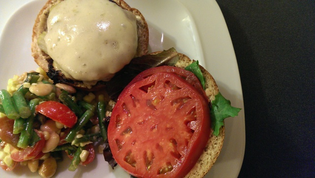 turkey burger with summer salad