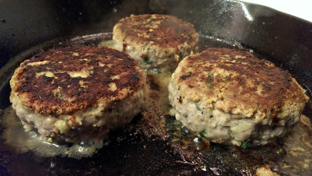 turkey burgers in cast iron