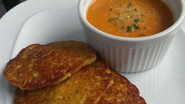 corn and okra cakes with summer soup