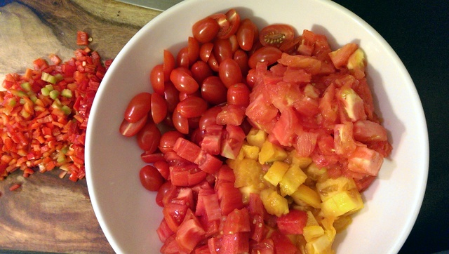 diced peppers and tomatoes