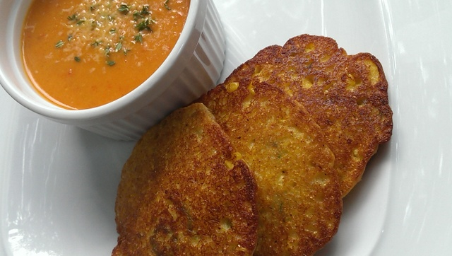 tomato, pepper, pear soup with johnny cakes