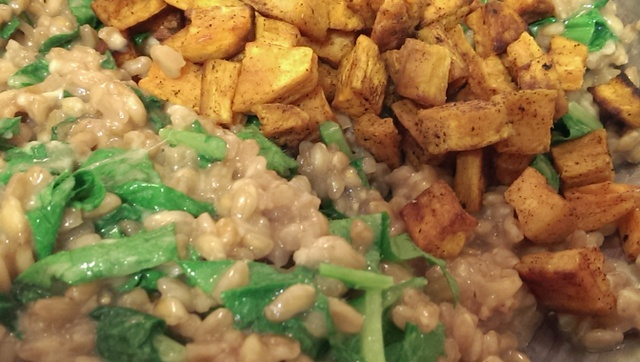 add roasted sweet potatoes to risotto