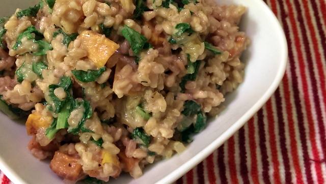 farro risotto with sweet potatoes and turnip greens