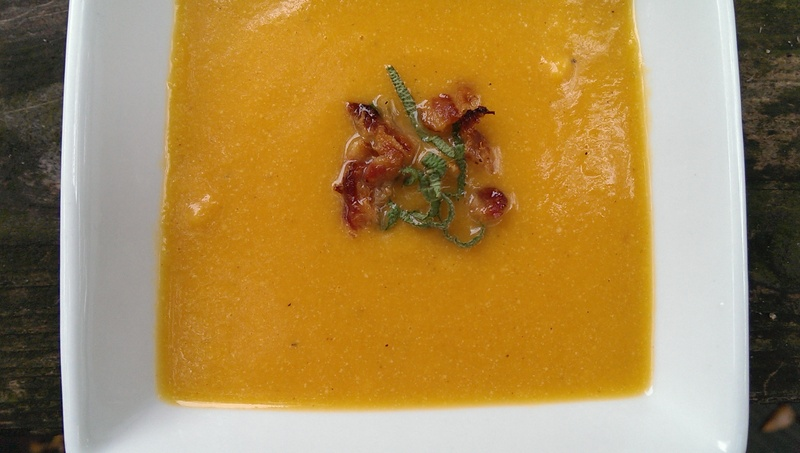 sweet potato soup in a bowl