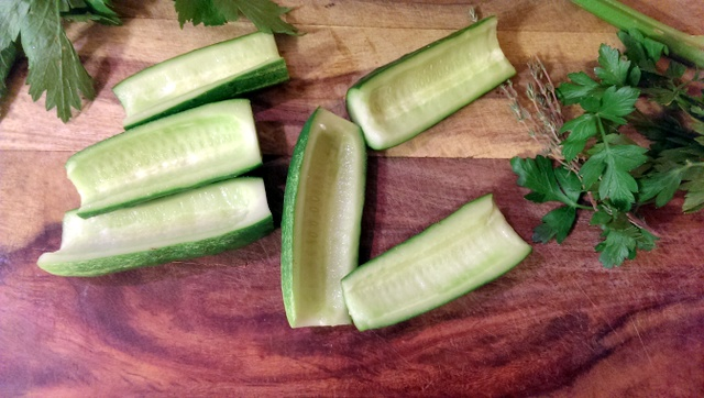 scooped out cucumbers