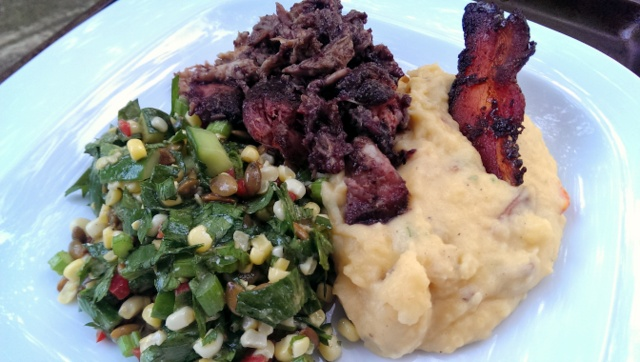 blueberry bbq plate with corn salad and smashed pimento cheese potatoes