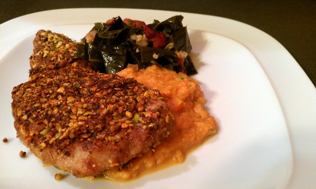 final pork chops with greens and mash