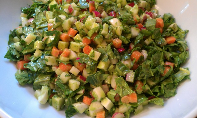 chopped spring salad dressed