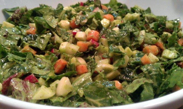 spring chopped salad with chicory