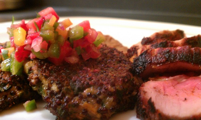 mexi dinner of pork tenderloin, gf quinoa cakes, strawberry salsa