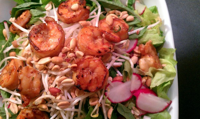 shrimp on asian salad with ginger dressing