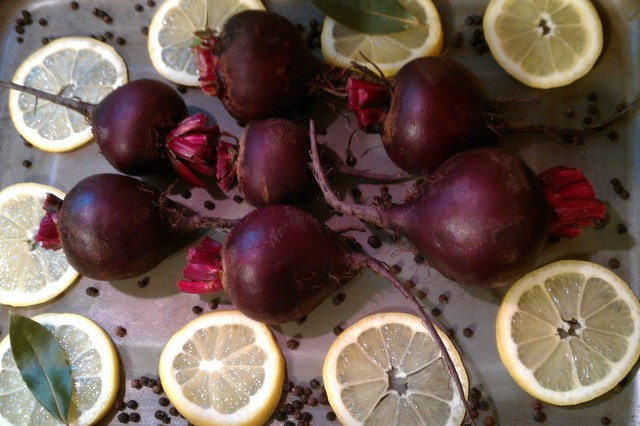 beets, lemons, and bay leaves