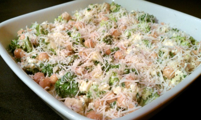 broccoli casserole ready for oven