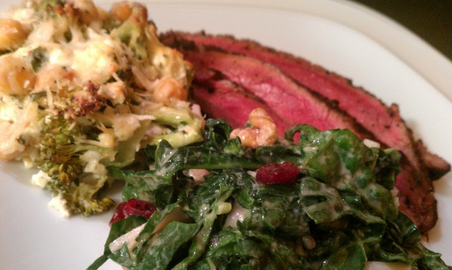 kale slaw, broccoli casserole, and steak