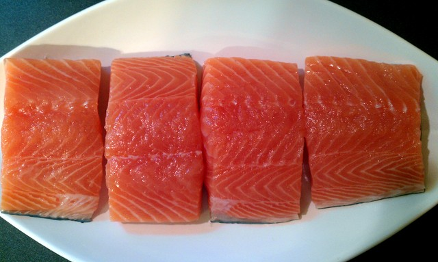 salmon portioned for the grill