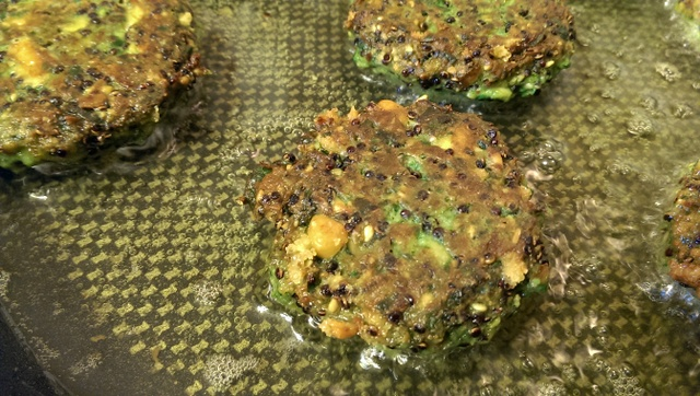 quinoa chard cakes in pan