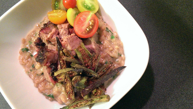 brisket with farro risotto and fried okra