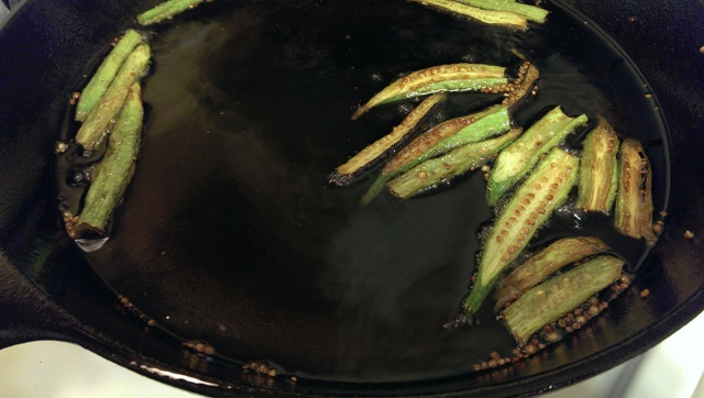 fry okra in batches