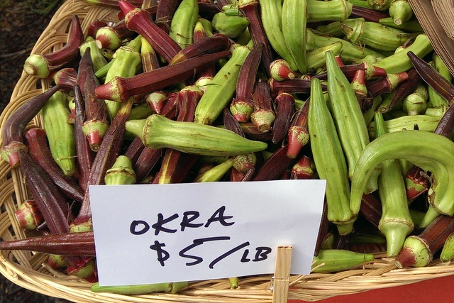 okra at market