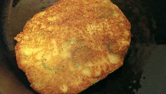 flipped okra corn cake