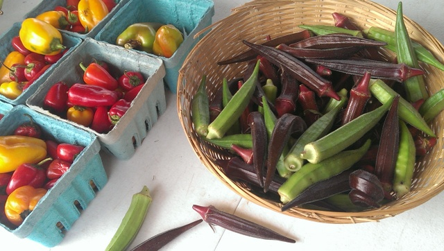 peppers and okra
