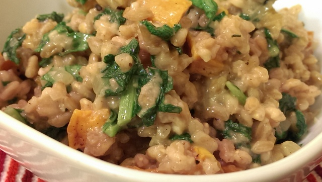 farro risotto close