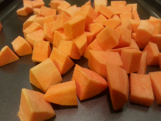 sweet potatoes cut