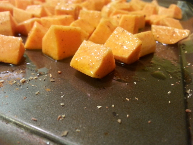 sweet potatoes tossed