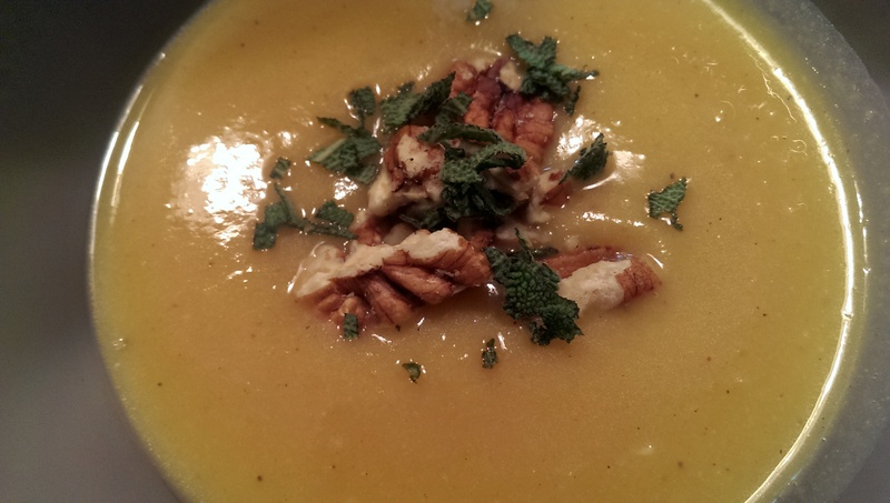 butternut squash soup in bowl