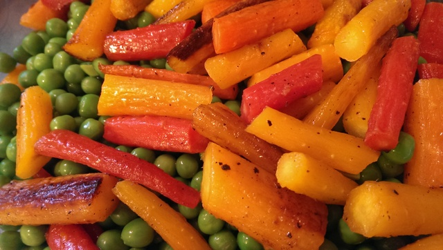 peas and roasted carrots