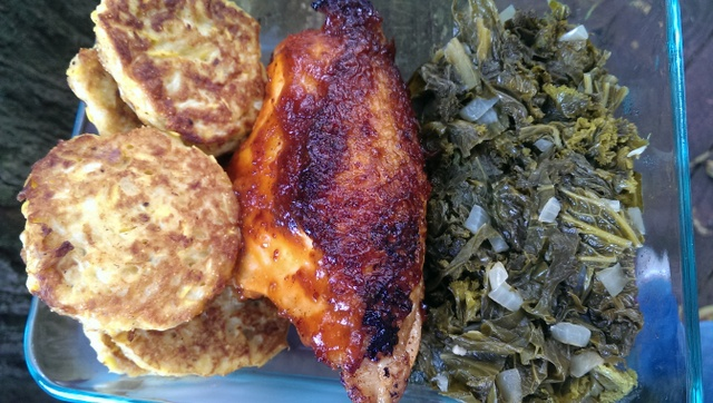 bbq chicken and squash cakes