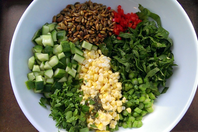 summer corn and celery salad ready to mix